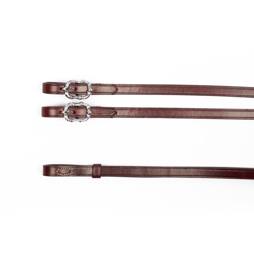 Barocke Zügel aus braunem Leder mit silbernen Cortesia Schnallen bei Picadera